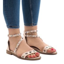 Różowe płaskie sandały z klamerką 18124-40