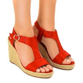 Czerwone sandały na koturnie espadryle H-69