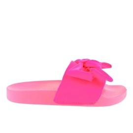 Różowe klapki z kokardką neon MU-6