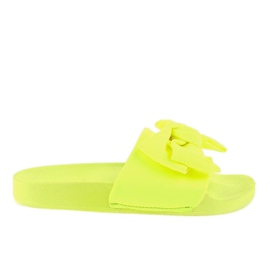 Żółte klapki z kokardką neon MU-6
