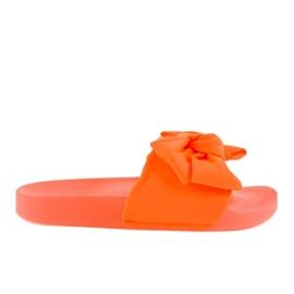 Pomarańczowe klapki z kokardką neon MU-6