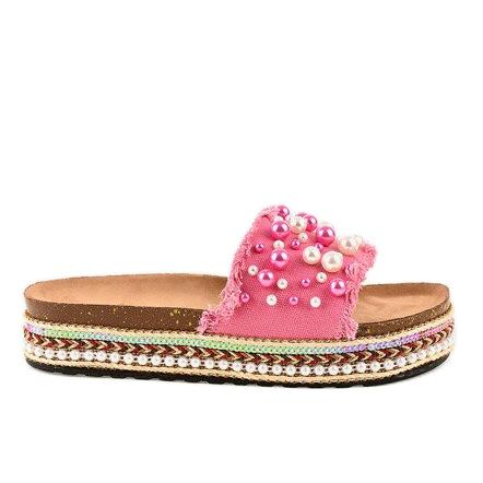 Różowe zdobione klapki perełki 1035