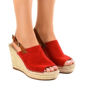 Czerwone sandały na koturnie espadryle KA-20