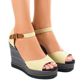 Brązowe Beżowe sandały na koturnie espadryle 9079