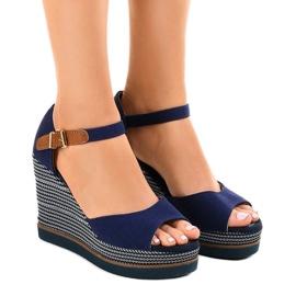 Granatowe sandały na koturnie espadryle 9079