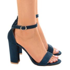 Granatowe eleganckie sandały na słupku LA-106