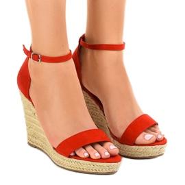 Czerwone sandały na koturnie espadryle BD342