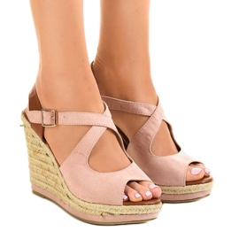 Różowe sandały na koturnie espadryle LM-0205