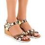 Złote sandały koturny zdobione 3024-32 żółte