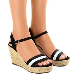 Czarne espadryle sandały na koturnie 9072