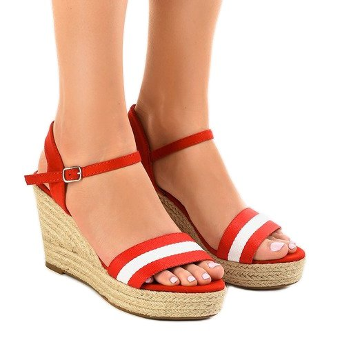 Czerwone espadryle sandały na koturnie 9072