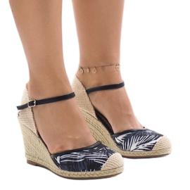 Czarne espadryle sandały na koturnie 1190-138