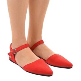 Czerwone sandały balerinki 235-4