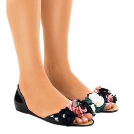 Czarne sandałki meliski z kwiatkami AE20
