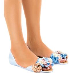 Niebieskie sandałki meliski z kwiatkami AE20