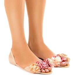 Brązowe Beżowe sandałki meliski z kwiatkami AE20