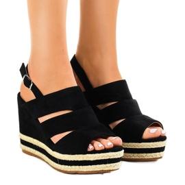 Czarne espadryle sandały na koturnie FG6