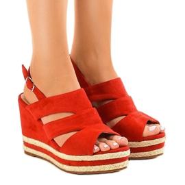 Czerwone espadryle sandały na koturnie FG6