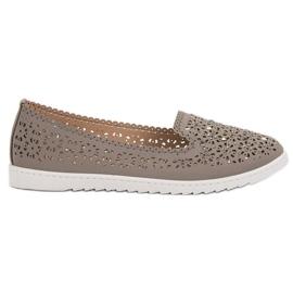 Top Shoes Lordsy Z Kryształkami szare