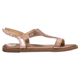 Super Mode różowe Casualowe Sandały Z Cyrkoniami