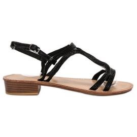 SHELOVET czarne Sandały Na Obcasie