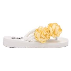 SHELOVET białe Lekkie Japonki Z Kwiatami