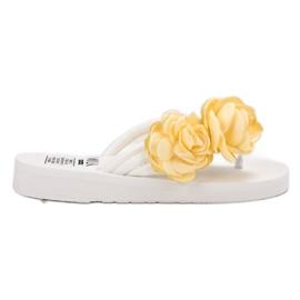 SHELOVET Lekkie Japonki Z Kwiatami białe