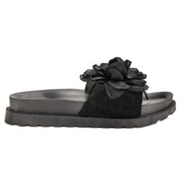 Queen Vivi czarne Zamszowe Klapki Z Kwiatami