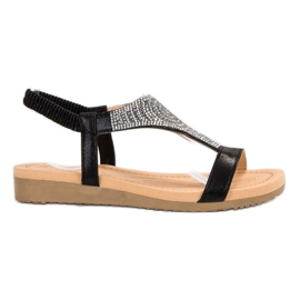 Top Shoes Stylowe Czarne Sandały