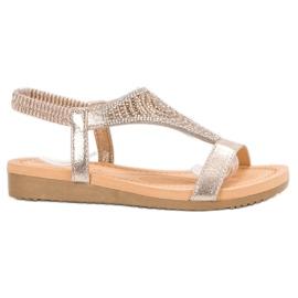 Top Shoes żółte Stylowe Złote Sandały