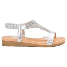 Top Shoes szare Stylowe Srebrne Sandały