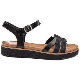 Bestelle czarne Sandały Z Brokatową Podeszwą