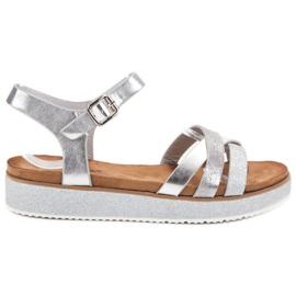 Bestelle szare Sandały Z Brokatową Podeszwą