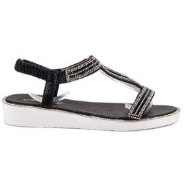 SHELOVET czarne Sandały Na Koturnie Z Gumką