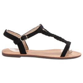 Ch. Creation czarne Zamszowe Sandały