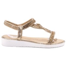 SHELOVET żółte Wsuwane Sandały Na Koturnie