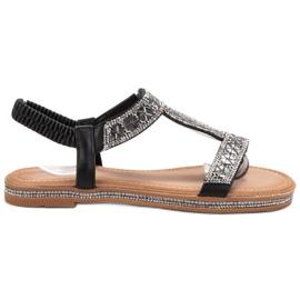 Bello Star Zdobione Czarne Sandały