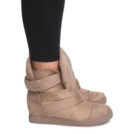 Brązowe Sneakersy Na Koturnie Z Rzepą 1703 Camel