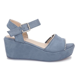 Niebieskie sandały na koturnie Laguna
