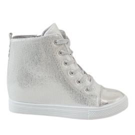 Szare Srebrne sneakersy na koturnie 29333-2