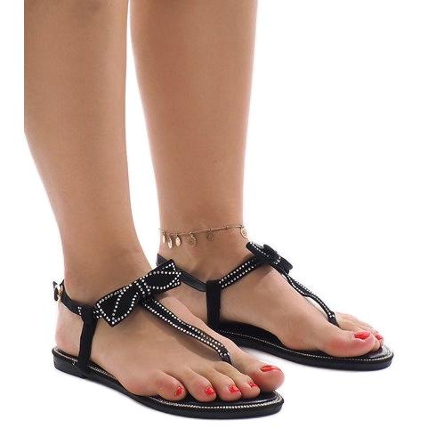 Czarne sandały z cekinami CX0707