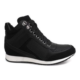 Sneakersy Na Koturnie 58804 Czarny czarne