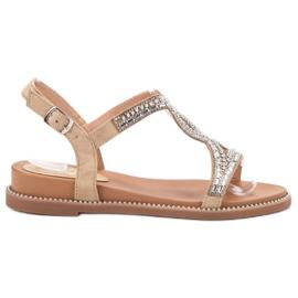 Bello Star Zamszowe Sandały Z Kryształkami brązowe