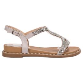 Bello Star szare Zamszowe Sandały Z Kryształkami