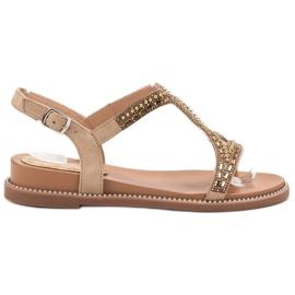 Bello Star brązowe Zamszowe Sandały Z Kryształkami