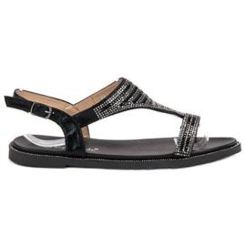 Super Mode Stylowe Czarne Sandały