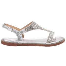Super Mode szare Stylowe Srebrne Sandały