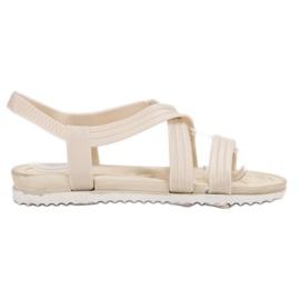 SHELOVET Wsuwane Gumowe Sandały białe