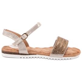 Emaks brązowe Sandały Z Cyrkoniami