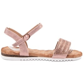 Emaks różowe Sandały Z Cyrkoniami